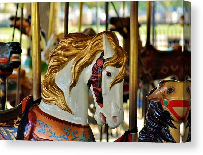 Carousel Canvas Print featuring the photograph Carousel Horse 1 by Jean Goodwin Brooks