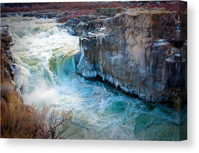 Snake River Canvas Print featuring the photograph Cauldron Linn In Winter by Rick Otto