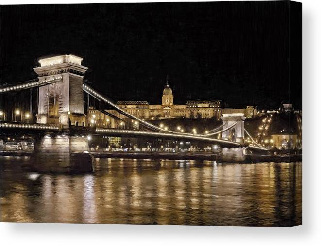 Joan Carroll Canvas Print featuring the photograph Chain Bridge And Buda Castle Winter Night Painterly by Joan Carroll