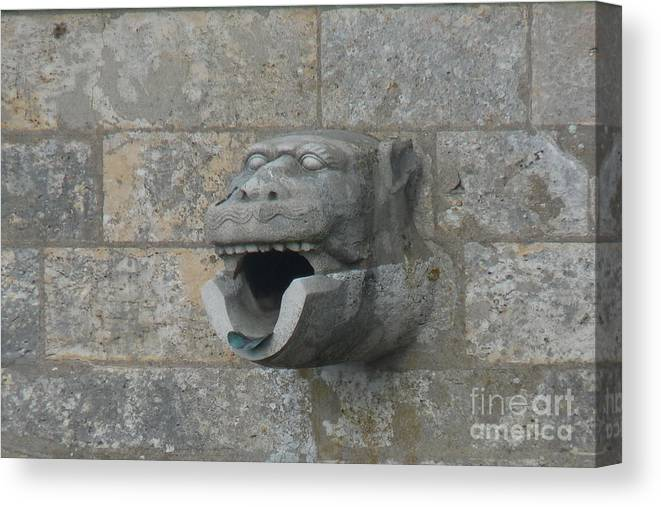 Chartres Canvas Print featuring the photograph Chartres Cathedral Gargoyle Drain by Deborah Smolinske