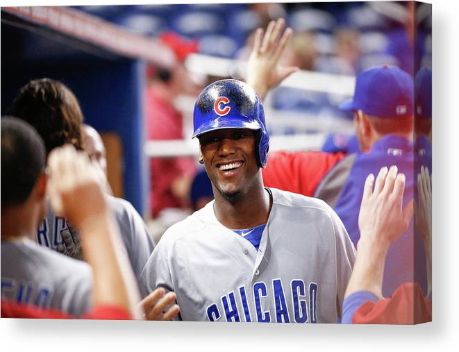 Second Inning Canvas Print featuring the photograph Chicago Cubs V Miami Marlins by Rob Foldy