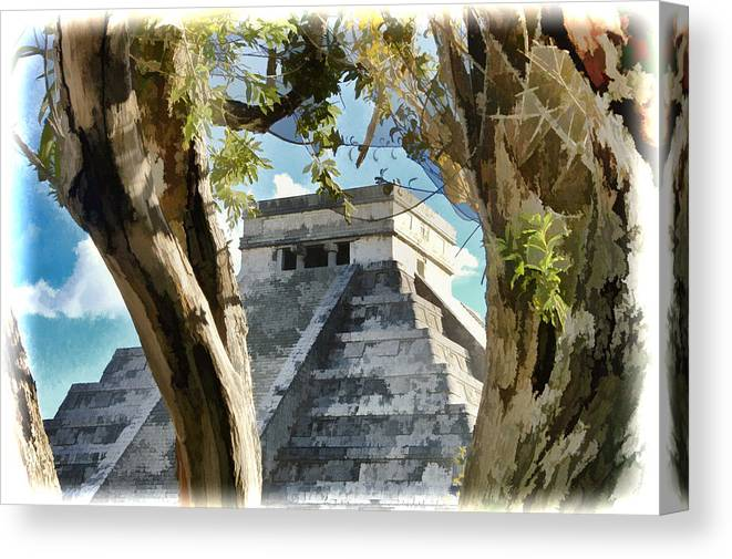 Cancun Canvas Print featuring the photograph Chichen Itza - Yucatan Mexico by Jon Berghoff