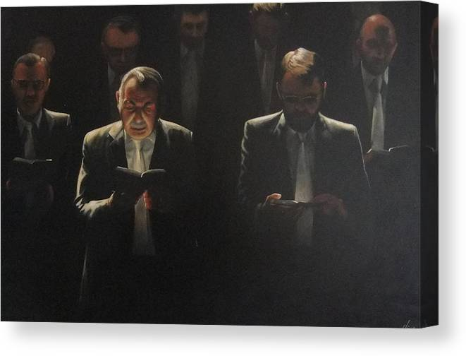 Portrait Canvas Print featuring the painting Choir Self Portrait by Clive Holden