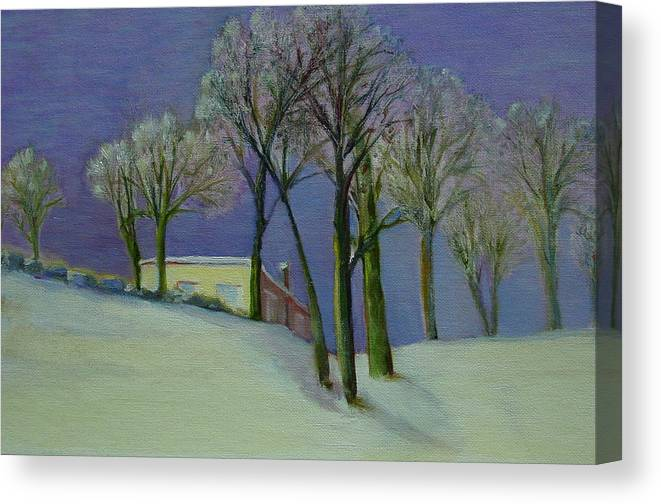 Christmas Card Canvas Print featuring the painting Christmas Eve       Copyrighted by Kathleen Hoekstra