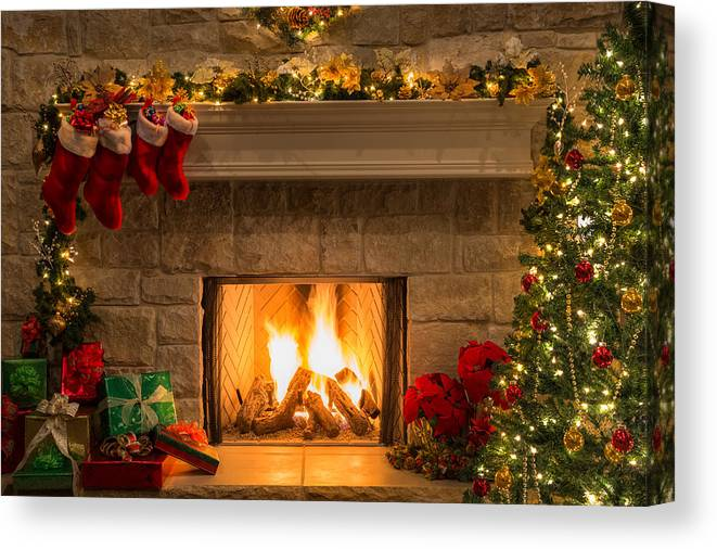 Christmas Fire Place Images.Christmas Fireplace Tree Stockings Fire Hearth Lights Decorations Canvas Print