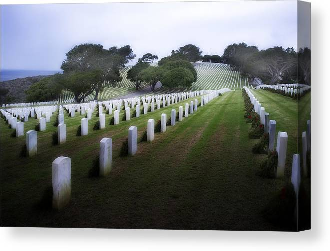 Fort Rosecrans National Cemetery Canvas Print featuring the photograph Christmas Fort Rosecrans National Cemetery by Hugh Smith