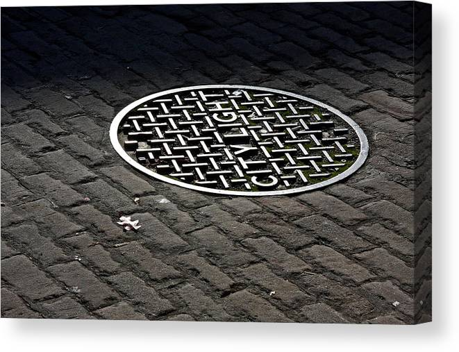 Manhole Canvas Print featuring the photograph City Light by Steve Raley
