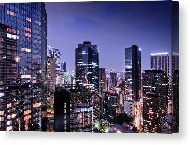 Built Structure Canvas Print featuring the photograph City Of Glass And Light by Image Provided By Duane Walker