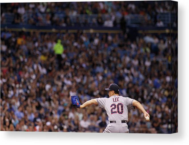American League Baseball Canvas Print featuring the photograph Cleveland Indians V Tampa Bay Rays by Brian Blanco