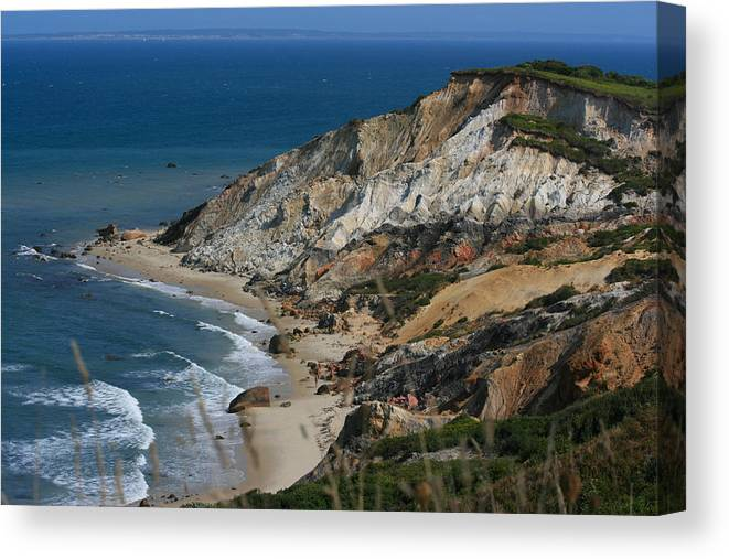 Gay Head Cliffs Canvas Print featuring the photograph Cliffs Of Gay Head At Aquinnah by Marty Fancy
