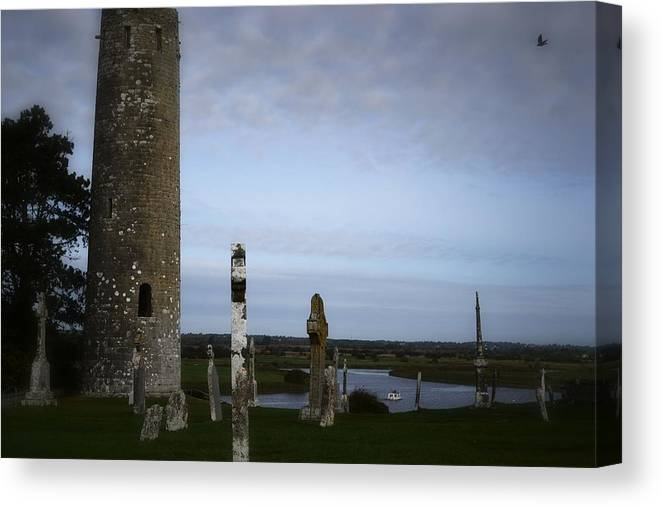 Religious Sites Canvas Print featuring the photograph Clonmacnoise On The River Shannon by Nadalyn Larsen