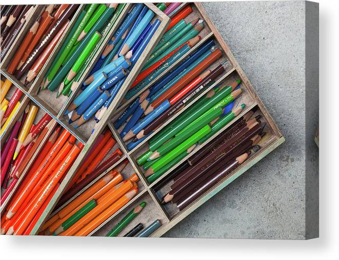 Photography Canvas Print featuring the photograph Close-up Of Color Pencils, Ishoj by Panoramic Images