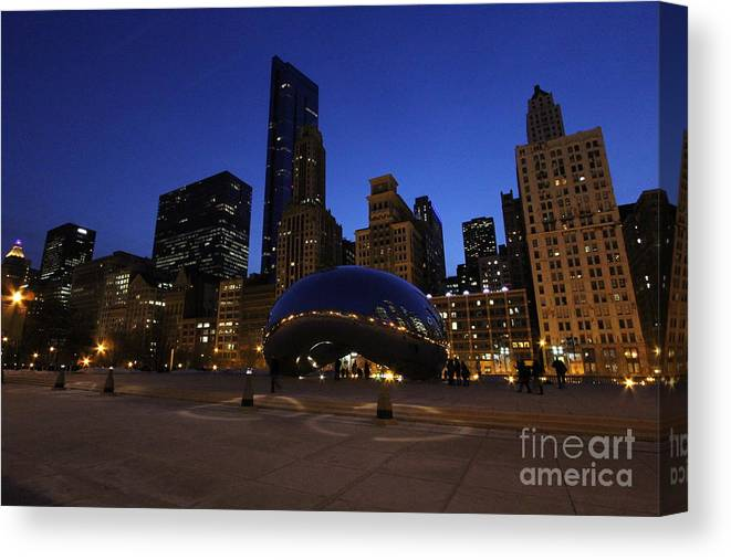 Chicago Canvas Print featuring the photograph Cloud Gate Chicago At Sunset by Michael Paskvan