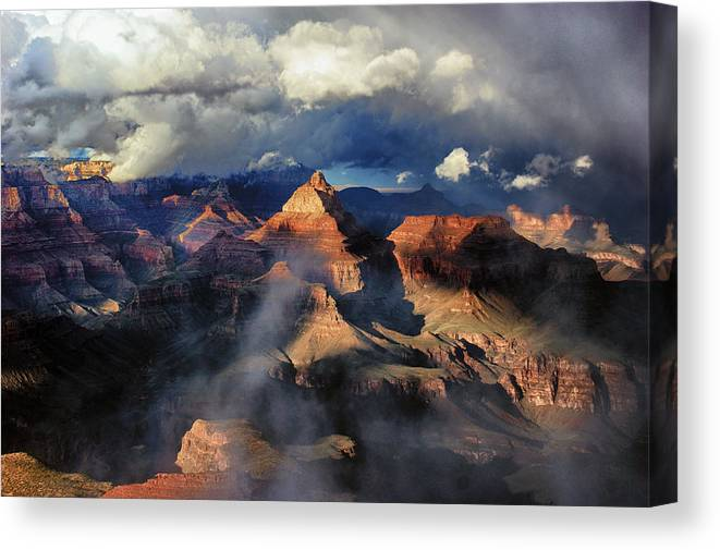 Grand Canyon Canvas Print featuring the photograph Clouds Part Over The Canyon by Brian Kerls