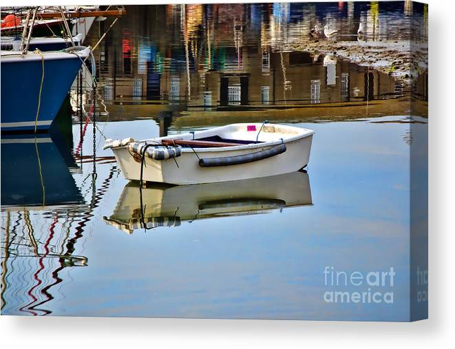 Lyme Regis Canvas Print featuring the photograph Cobb Reflections by Susie Peek