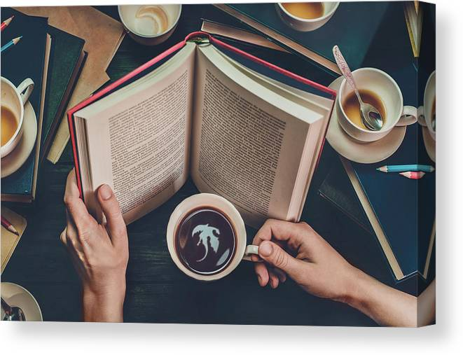Read Canvas Print featuring the photograph Coffee For Dreamers by Dina Belenko