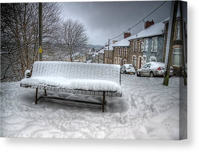 Snowy Seat Canvas Print featuring the photograph Cold Seat by Steve Purnell