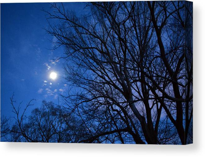 Moon Canvas Print featuring the photograph Colored Hues Of A Full Moon by Bill Helman