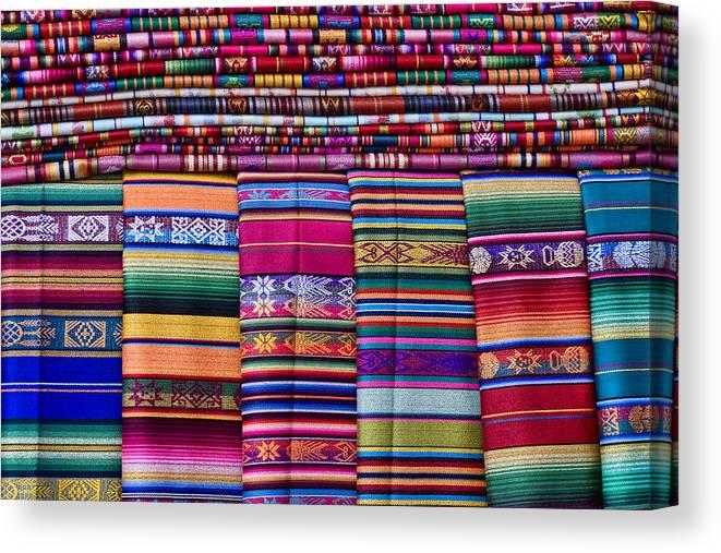 Canvas Santa Fe >> Colorful Blankets Santa Fe Canvas Print