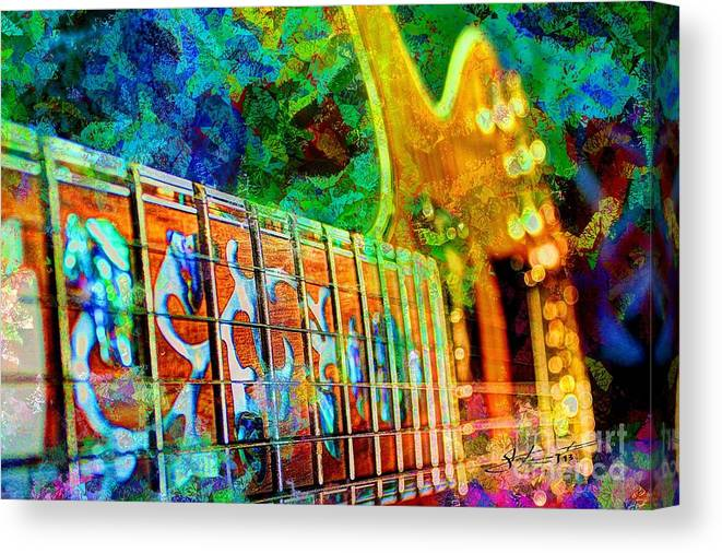 Guitar Canvas Print featuring the photograph Colorful Music Digital Guitar Art By Steven Langston by Steven Lebron Langston