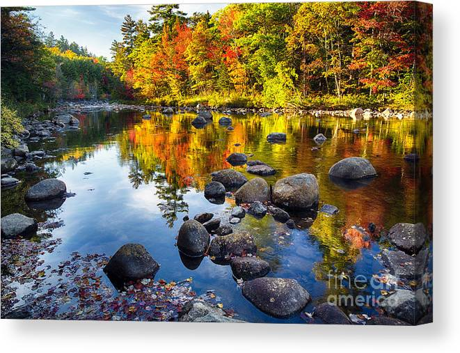 Kancamagus Highway Canvas Print featuring the photograph Colorful Trees Along The Swift River by George Oze