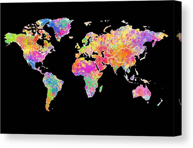 World Map Canvas Print featuring the painting Colorful Watercolor World Map by Georgeta Blanaru