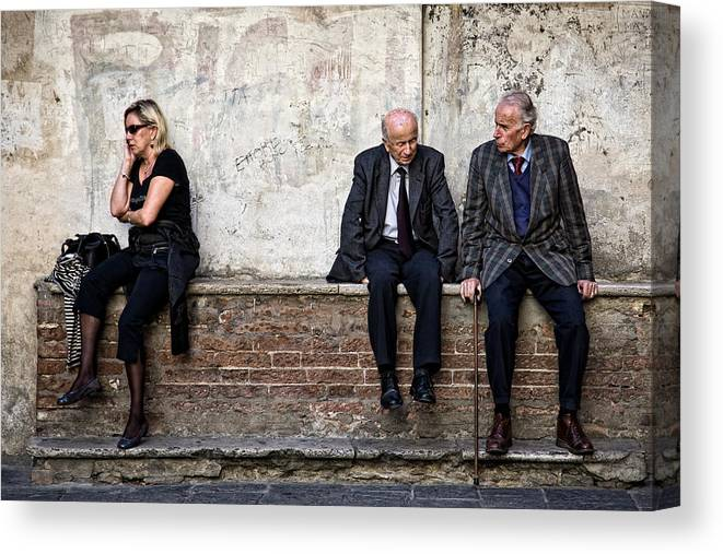 Street Photography Canvas Print featuring the photograph Communication by Dave Bowman