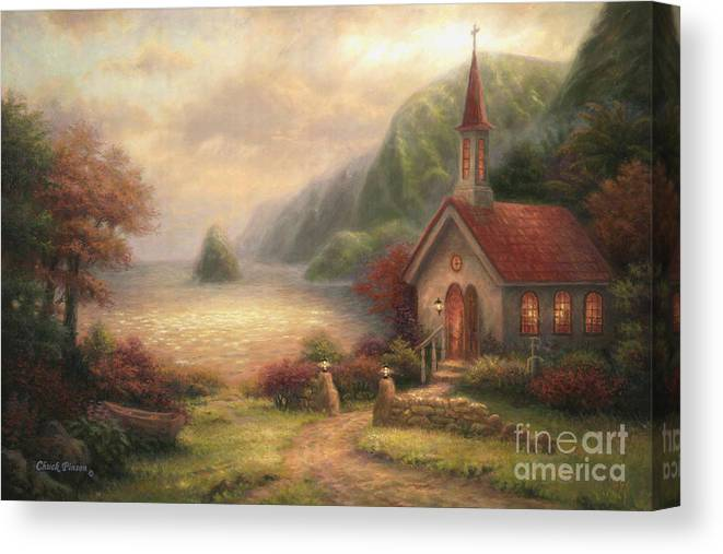 Church Canvas Print featuring the painting Compassion Chapel by Chuck Pinson
