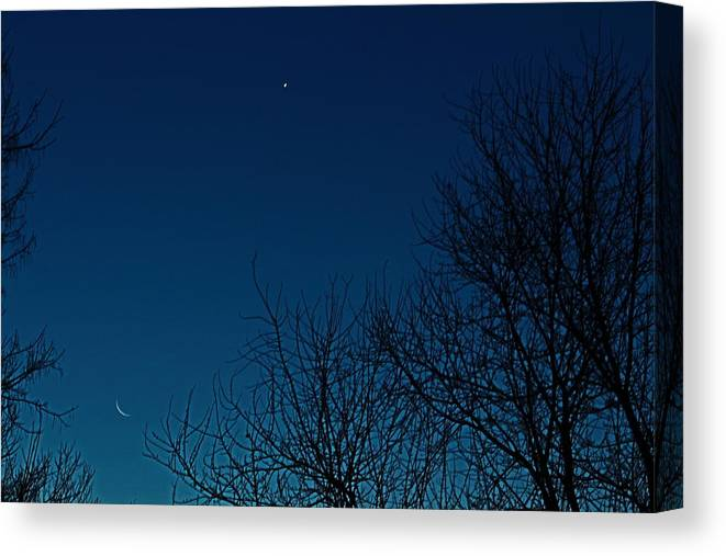 Moon Canvas Print featuring the photograph Crescent Moon by Scott Watson