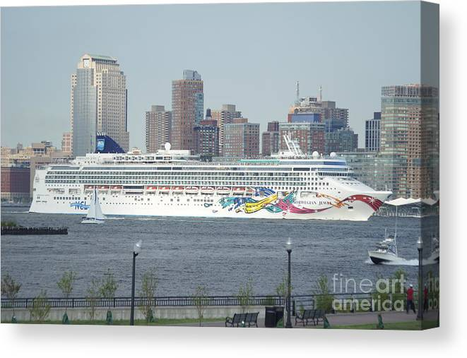 Cruise Canvas Print featuring the photograph Cruise Ship On The Hudson by Evelyn Hill
