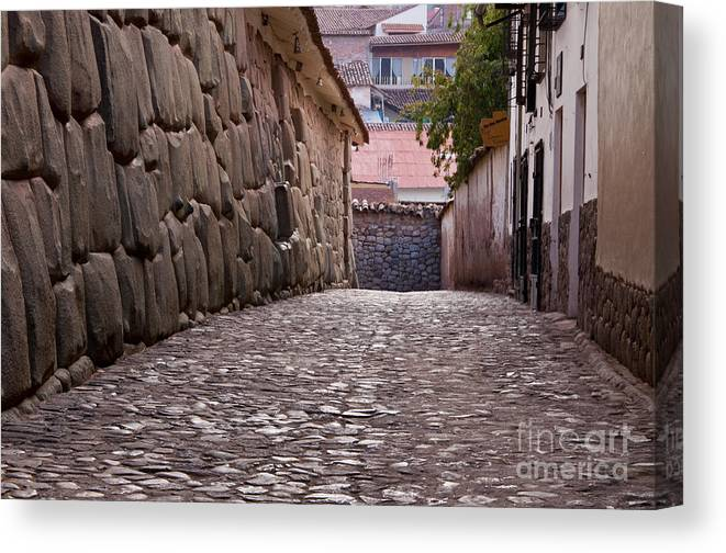Stone Canvas Print featuring the photograph Cusco City Street by Bob Phillips