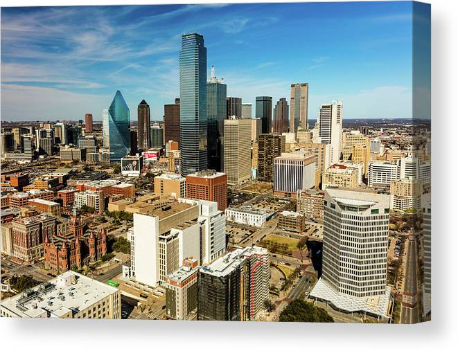 Photography Canvas Print featuring the photograph Dallas Skyline As Seen From Reunion by Panoramic Images
