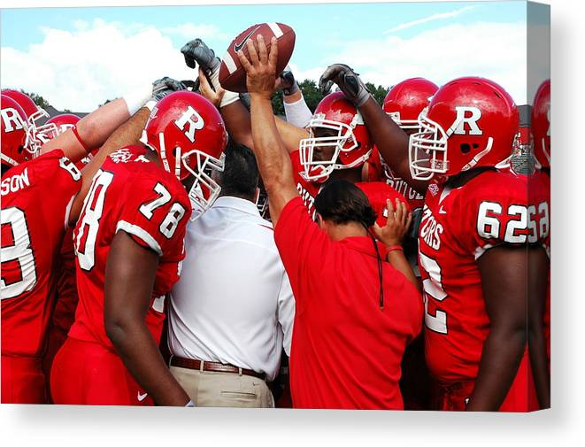 Rutgers Canvas Print featuring the photograph Defensive Huddle by Allen Beatty