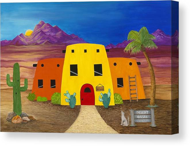 Whimsicle Desert Inn Has Vacancy Canvas Print featuring the painting Desert Oasis by Carol Sabo