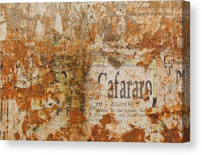 Photography Canvas Print featuring the photograph Detail Of Old Stone Wall In Sorrento by Panoramic Images