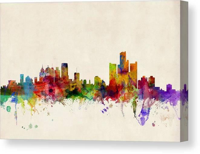Watercolour Canvas Print featuring the digital art Detroit Michigan Skyline by Michael Tompsett