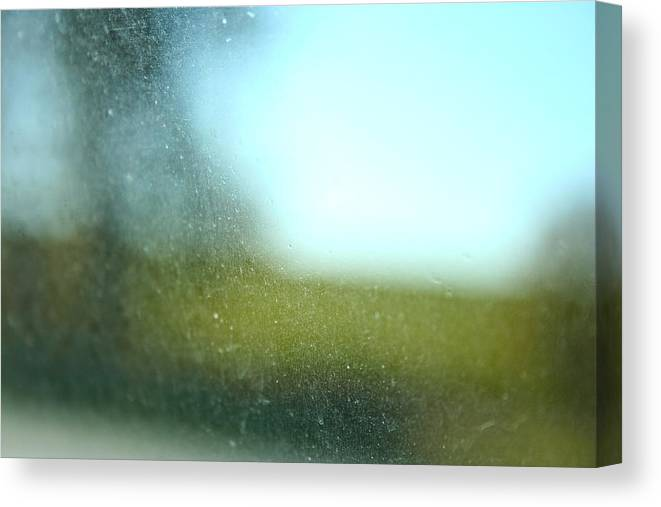 Green Canvas Print featuring the photograph Dirty Window by Andrea Barnett