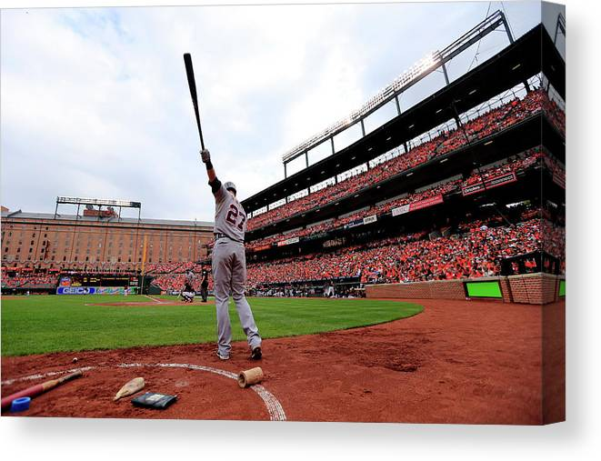 Andrew Romine Canvas Print featuring the photograph Division Series - Detroit Tigers V by Rob Carr