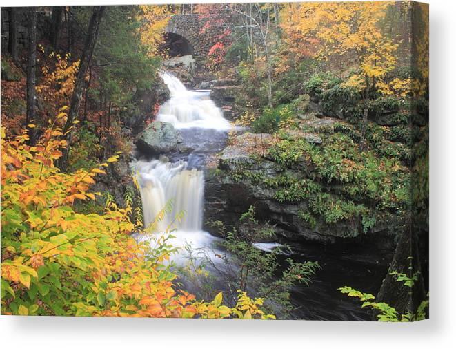 Waterfall Canvas Print featuring the photograph Doanes Falls Fall Foliage by John Burk