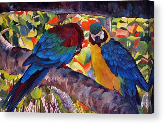 Birds Canvas Print featuring the painting Dominican Birds by Brenda Loschiavo