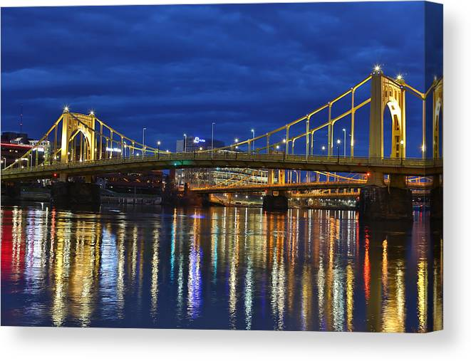 Pittsburgh Pa. Pennsylvania Andy Warhol Warhola Skyline Bridge Skyline Skycap Urban Urbanx Taaffe Jimmy City Bridge North Shore Color Canvas Print featuring the photograph Double Agent by Jimmy Taaffe