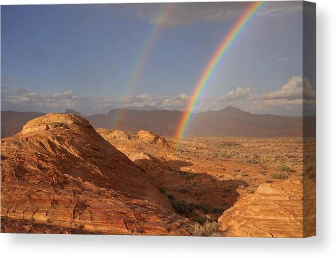 Rainbow Canvas Print featuring the photograph Double Rainbow At The Valley Of Fire by Steve Wolfe