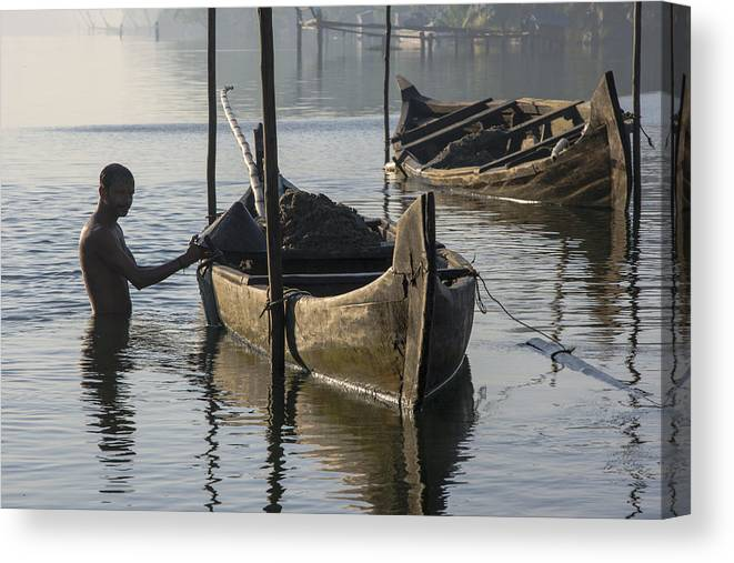 Backwaters Canvas Print featuring the photograph Dredging Sand by Sonny Marcyan