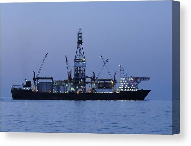 Oil Rig Canvas Print featuring the photograph Drill Ship Before Dawn by Bradford Martin