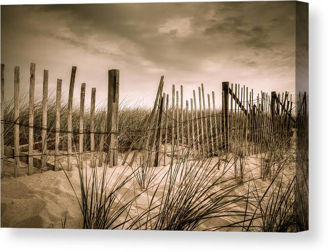 Landscape Canvas Print featuring the photograph Dune Fence by Brian Caldwell