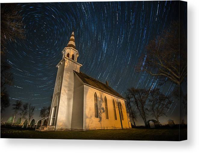 Star Trails Canvas Print featuring the photograph Eden Trails by Aaron J Groen