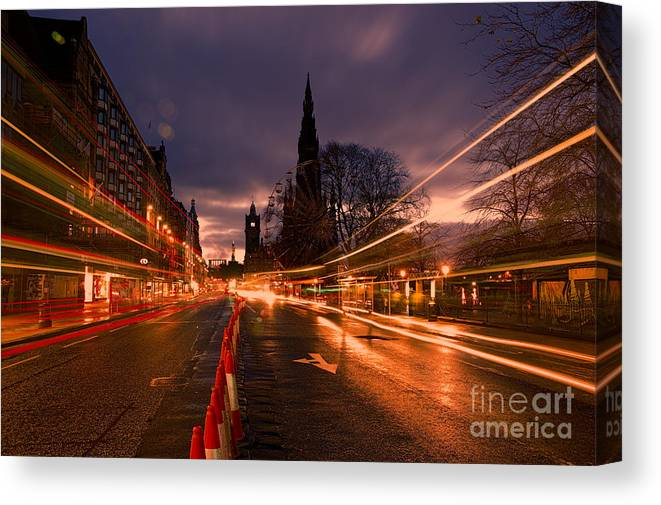 Scotland Canvas Print featuring the photograph Edinburgh Dawn Fire In The Sky by Donald Davis