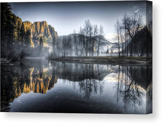 Merced Canvas Print featuring the photograph Eerie Valley Under The Falls by Mike Lee