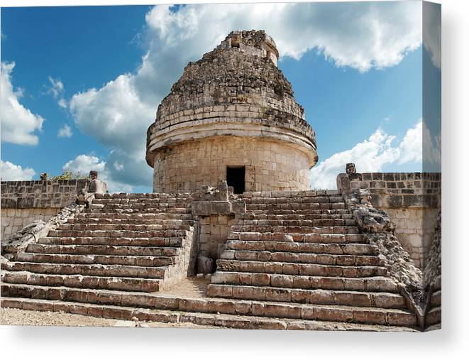 Chichen Itza Canvas Print featuring the photograph El Caracol by Jo Ann Snover