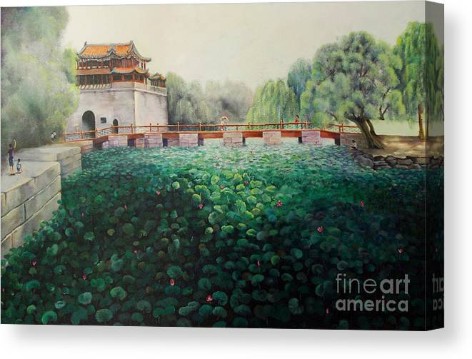 Landscape Canvas Print featuring the painting Emperor's Summer Palace by Marlene Book